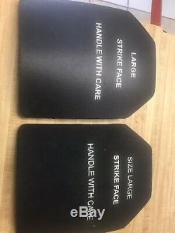 (2) BODY ARMOR CERAMIC STRIKE FACE PLATES 7.62MM LRG CURVED 10x13PLATE