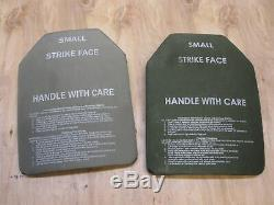(2) BODY ARMOR INSERTS LEVEL 3 CERAMIC STRIKE PLATES SMALL 9x12 FRONT & BACK