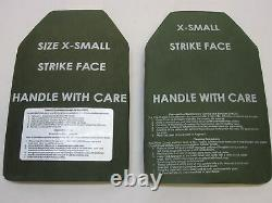 (2) BODY ARMOR INSERTS LEVEL 3 CERAMIC STRIKE PLATES X-SMALL 8x12 FRONT & BACK