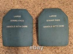 (2) Level III Ceramic SAPI Plates Large Body Armor ESAPI PLATES 7.62MM APM2