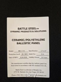 (2) Level III Ceramic SAPI Plates XL 11x14 Battle Steel III+ Armor Body