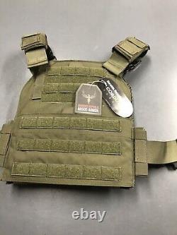 AR500 10X12 Level III + Body Armor Plates Trauma Pads, Veritas Modular Plate OD