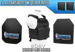 AR500 Level 3 III 4 Pc Body Armor Plates with Molle Vest Setup
