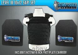 AR500 Level 3 III Body Armor Plates- 10x12 SAPI Set & NcStar Black Carrier