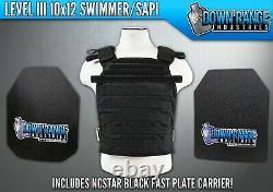 AR500 Level 3 III Body Armor Plates- 10x12 Swimmer/Sapi & NcStar Black Carrier