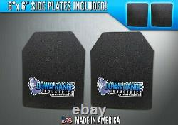 AR500 Level 3 III Body Armor Plates Pair Curved 10x12 with 6x6 Side Plates