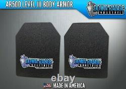 AR500 Level 3 III Body Armor Plates Pair Curved 8x10