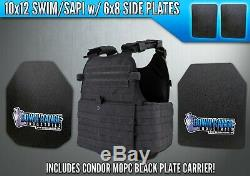 AR500 Level III 3 Body Armor Plates 10x12 with Side Plates & Condor MOPC Carrier