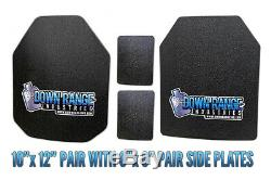 AR500 Level III Body Armor Plates Pair-Curved 10x12 with Side Plates SAPI/Swimmer