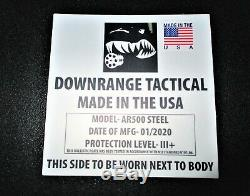 Ar500 Level 3+ Body Armor Plates (2)10x12 And (2) 8x6 Plates & Spall/aramid Pads