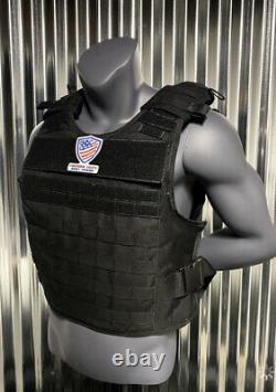 Ar500 Plate Carrier BLACK 10x14 Level III Body Armor Bullet proof vest