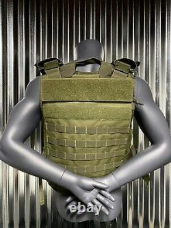 Ar500 Plate Carrier Green 10x14 Level III Body Armor Bullet proof vest