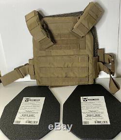 Ar500 body armor 10x12 Flat Advanced LW Level III 9-30-2016 20 Year Shelf- Vest