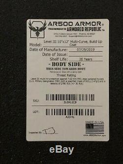 Ar500 body armor 10x12 Level III