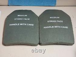 BODY ARMOR INSERTS LEVEL 3 CERAMIC STRIKE FACE PLATES LARGE 10x13 FRONT & BACK