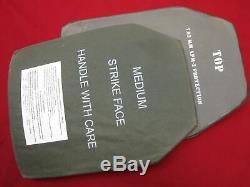 BODY ARMOR INSERTS LEVEL 3 CERAMIC STRIKE FACE PLATES MEDIUM 10x13 FRONT & BACK