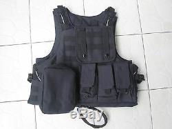 Black Combat Tactical Soft Bullet proof vest IIIA + 2PCS III ceramic plates