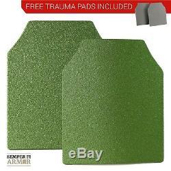 Body Armor AR500 Plates Two 10X12 OD Green Dont Tread On Me Free Trauma Pads