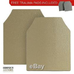 Body Armor AR500 Plates Two 10X12s in Federal Standard Tan Side Plate Options