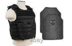 Body Armor AR500 Steel Plates Base Coating Bullet Proof Vest BLK M-XXL 10x12s