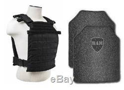 Body Armor Bullet Proof Vest AR500 Steel Plates FAST Plate Carrier BLK 11x14