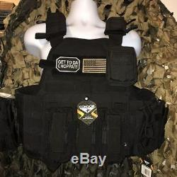 Condor Tactical MOPC Black 10x12 Steel Plates AR500 With All Molle Shown
