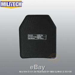 MILITECH Alumina NIJ III+ 10X12 Shooters Cut Ballistic Hard Armor Panel Pair SF