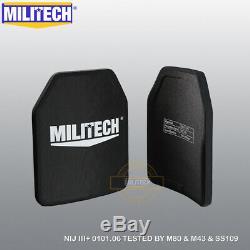 MILITECH Alumina NIJ III+ 10X12 Shooters Cut Ballistic Hard Armor Panel Pair Set