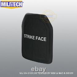 MILITECH NIJ III+ 3+ SIC 10X12 Shooters Cut Ballistic Hard Armor Panel Pair Set