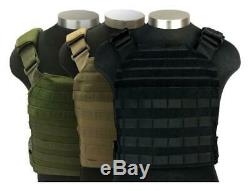 MOLLE Plate Carrier with (2) Level III 10x13 LG SE Hard Armor Plates, Black CR8000