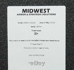Mid-West Armor AR500 Steel Armor 10x12 Level III Slick Plate Carrier Black