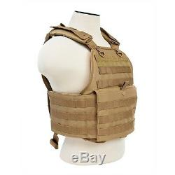 NcStar TAN Plate Carrier & 2 10X12 Shooters Cut Soft UHMWPE Ballistic Plates