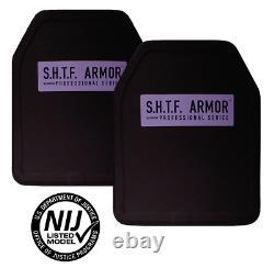 PAIR NIJ Level 3 Certified 10X12 Body Armor Inserts SAPI Cut IN STOCK not ar500