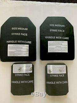 Pair of 2 Medium 9.5 x 12 curved body armor plates LEVEL III+plus 2 side Plates