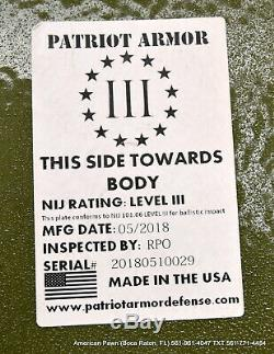 Patriot Armor Level III Body Armor Plates (2) In DDT Ghost Nylon Carrier