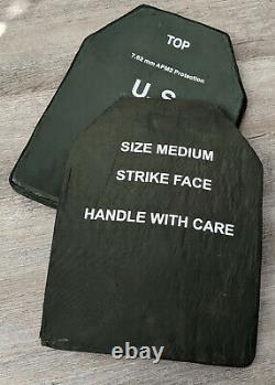 SET of 2 Green Level III ballistic body armor plates rated apm2 size MEDIUM