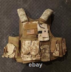 Sand/Camo Ballistic Vest Plate Carrier Level 3+ Plates Mag Pouches