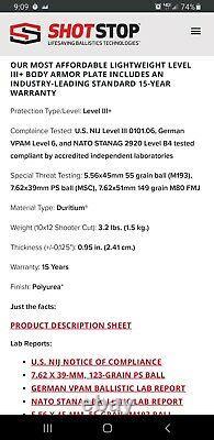 Shot Stop Body Armor / Level iii+ PS Duritium / Multi Hit / 15 Yr. Warranty