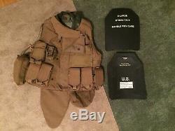 USMC Plate Carrier Interceptor Body Armor (IBA) SAPI Plates & Armor III / IIIA