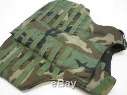 Woodland Camo Bulletproof Vest Body Armor Plate Carrier Medium Level Iii-a
