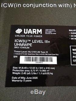 Yarn strike face plate armor ICW3U Level 3+ UHMWPE size medium