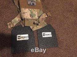 8x10 Armure De Corps En Acier De Niveau III Multi-courbe Avec Support Multicam Micro + Poche Mag