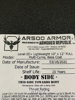 Ar500 Armored Republic Level Iii+ Plaque D'acier Légère 10x12 Avec Porte-avions