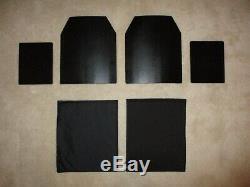 Ar500 Niveau 3+ Corps Plaques Armure (2) 10x12 Et (2) Plaques 8x6 & Spall / Pads Aramides