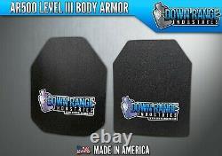 Ar500 Niveau 3 III Body Armor Plates Paire Courbée 8x10 Nage/sapi
