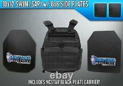 Ar500 Niveau III 3 Plaques D'armure Corporelle- 10x12 Avec Plaques Latérales - Ncstar Black Carrier