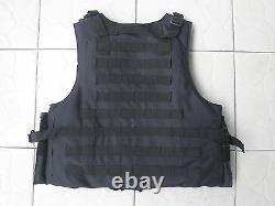 Black Combat Tactical Soft Bullet Proof Gilet Iiia + 2pcs III Plaques Céramiques