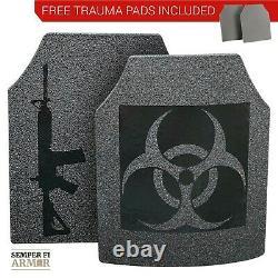 Body Armor Ar500 Bio Hazard 10x12 Plaques Livraison Immédiate Pads Trauma Gratuits