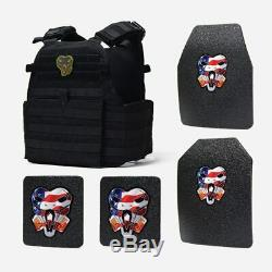 Cati Ar500 Corps Armor Base Coat Set 10x12s & 6x6 Secondaires Porte-plaques Noir