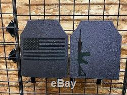 Corps Armure Ar500 Drapeau Américain Paire De Plaques 10x12! En Stock Expédition Immédiate